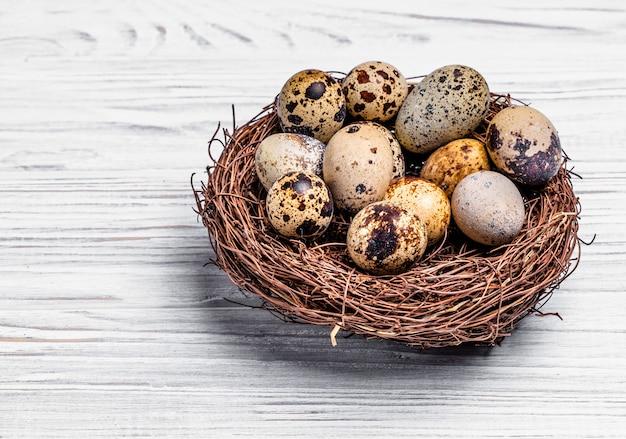 Cętkowane jaja przepiórcze w gnieździe wykonanym z gałązek na jasnym tle drewnianych.