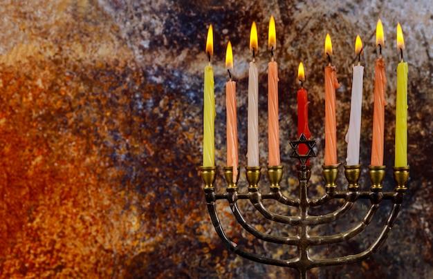 Chanuka menora chanukiah żydowskie tło wakacje
