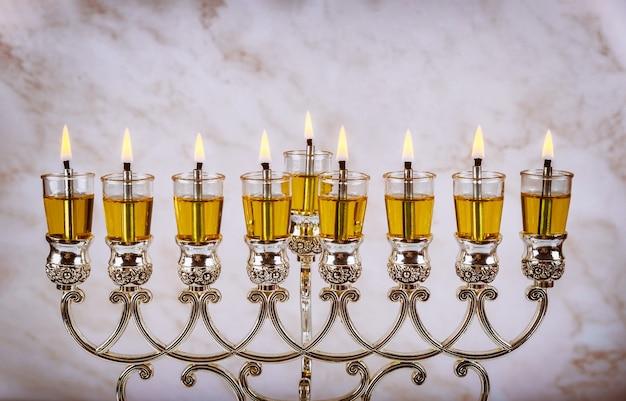 Chanukah menora symbol judaizmu tradycyjnego żydowskiego święta