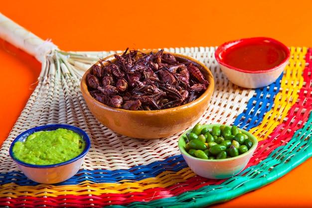Chapuliny z koników polnych. tradycyjne meksykańskie jedzenie
