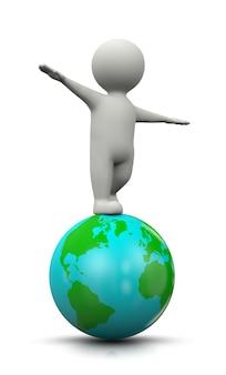 Charakter 3d zrównoważony na świecie