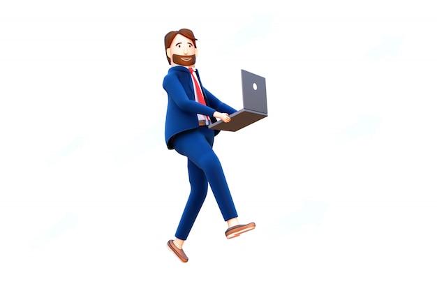 Charakter biznesmen posiadania laptopa. renderowania 3d.