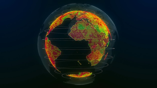 Charakter globalnego ocieplenia. ilustracja 3d