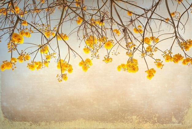 Charakter rocznika kwiat drzewa w lecie, płótno tekstury papieru sztuki