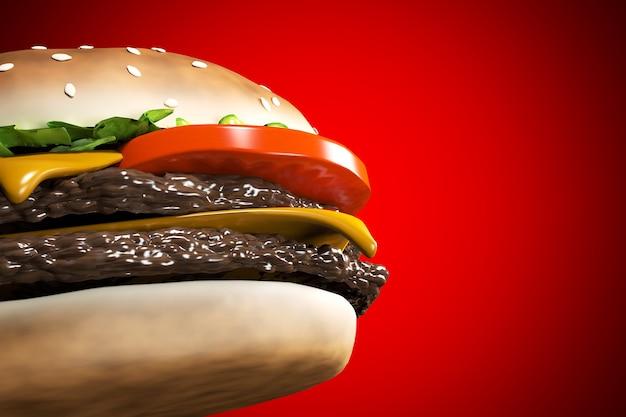 Cheeseburger renderujący 3d z wołowiną, serem, pomidorem, sałatą, cebulą, bekonem i sosem na czerwono