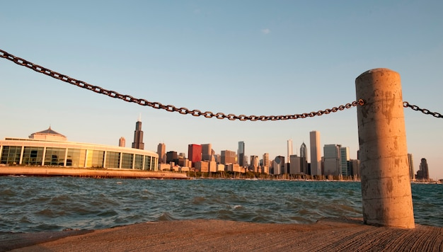 Chicago skyline, shedd aquarium, jezioro michigan