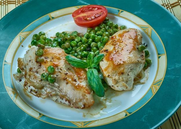 Chicken piccata - smażone na patelni piersi z kurczaka polane prostym sosem do patelni z kaparami, masłem, białym winem i sokiem z cytryny.