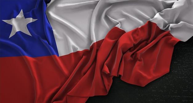 Chile flag zgnieciony na ciemnym tle renderowania 3d