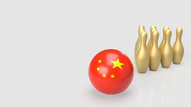 Chińska kula i złota szpilka w kręgle do renderowania 3d koncepcji biznesowej