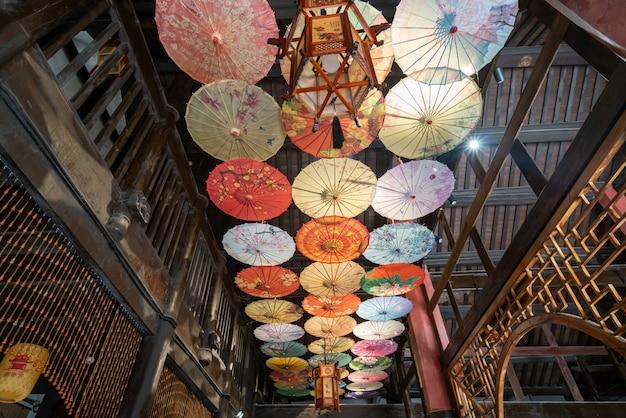 Chińska starożytna architektura loft indoor hall