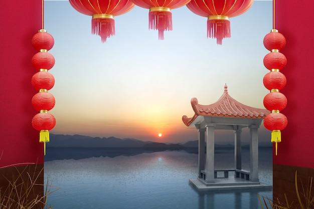 Chiński budynek altana nad jeziorem z wiszącą latarnią