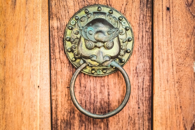 Chiński mosiężny antyczny klamka do drzwi