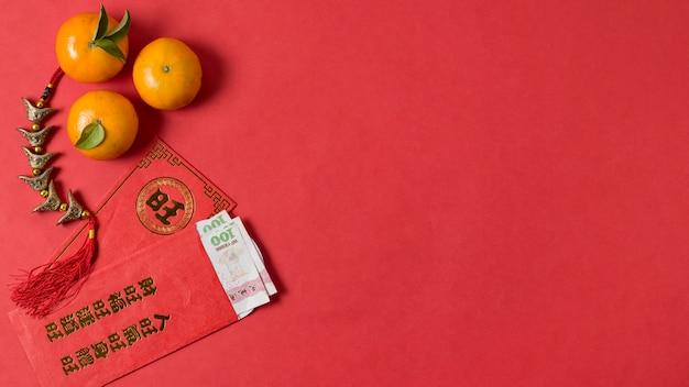 Chiński nowy rok z mandarynkami