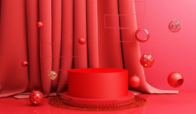 Chiński nowy rok, złoty podium wyświetlacz na czerwonym tle abstrakcyjnych