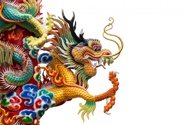 Chiński smok złoty posąg