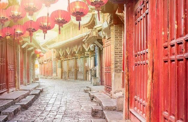 Chińskie stare miasto rano, lijiang yunnan, chiny