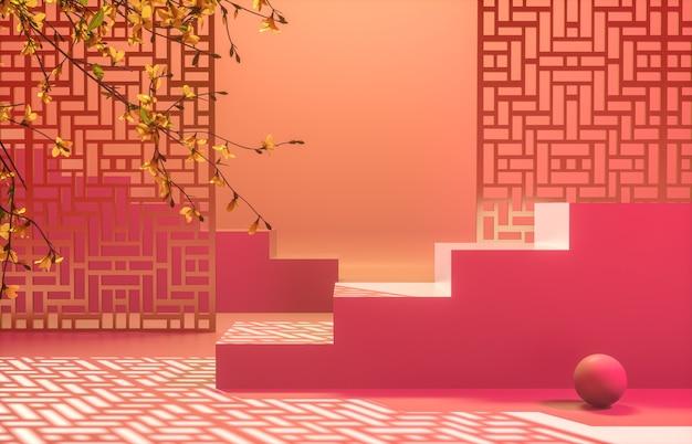Chińskie tło z czerwonym podium do wyświetlania produktów.