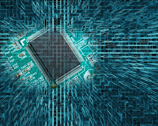 Chip na płytce drukowanej na tle abstrakcyjnych technologii
