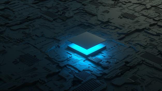 Chip procesora na płycie głównej streszczenie d render chipa komputerowego procesora z niebieskim światłem
