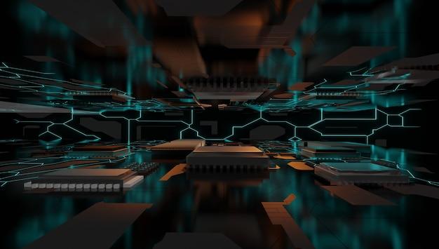 Chipset ai na płytce drukowanej w futurystycznej koncepcji odpowiedniej dla technologii przyszłości, renderowania 3d.