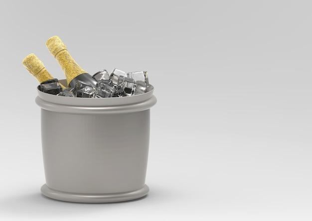 Chłodzenia szampana w wiaderku z szarego kopia przestrzeń tło.