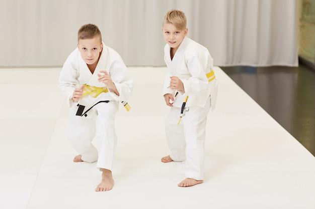 Chłopcy ćwiczący karate