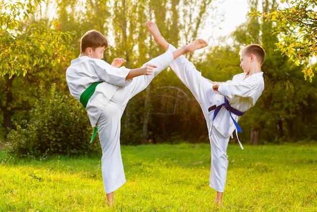 Chłopcy ubrani w kimono robi ćwiczenia karate na świeżym powietrzu