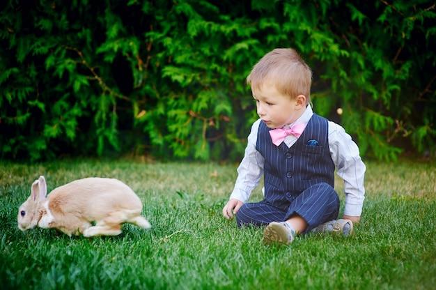 Chłopiec bawić się z królikiem w lato ogródzie