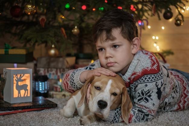 Chłopiec i pies beagle leżą na dywaniku w pobliżu choinki