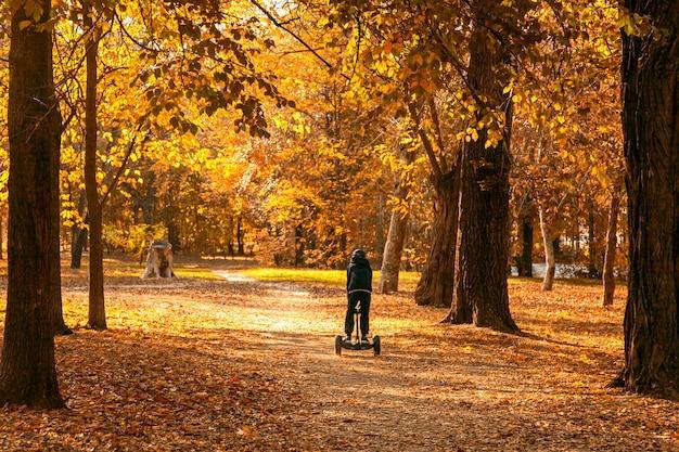 Chłopiec jeździ segwayem po asfaltowej ścieżce przez jesienny park miejski wśród drzew