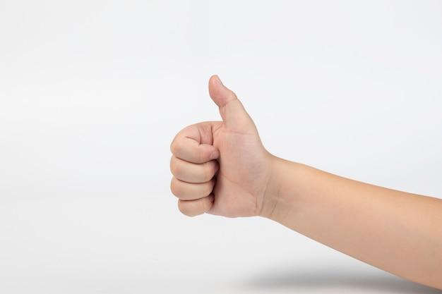 Chłopiec ręki i palca kciuk w górę symbolu