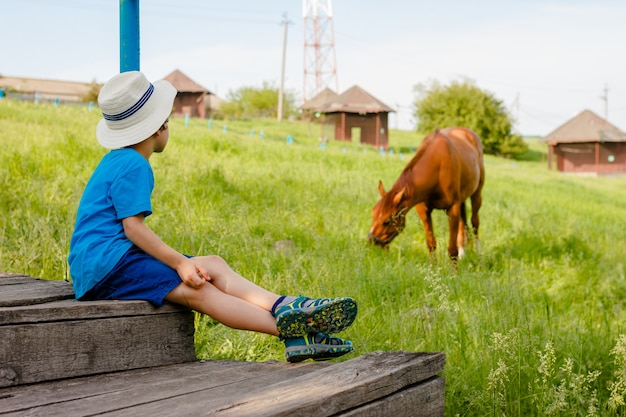 Chłopiec siedzi na schodach i obserwuje konia na wsi