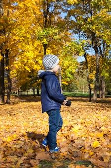 Chłopiec spacerujący po parku, który fotografuje otoczenie, specyfikę jesiennej przyrody,