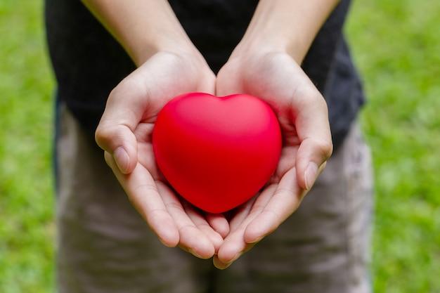 Chłopiec trzyma serce w dłoniach, chłopiec z czerwonym sercem w dłoniach. koncepcja walentynki.