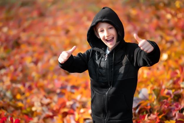 Chłopiec w czarnym swetrze z kapturem na tle opadłych jesiennych liści.
