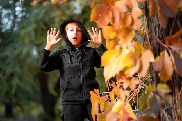 Chłopiec w czarnym ubraniu stoi przy drzewie, na którym wiszą żółte jesienne liście