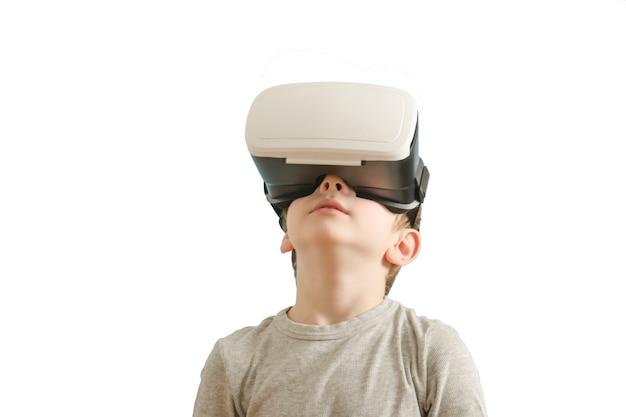 Chłopiec w okularach wirtualnej rzeczywistości, vr