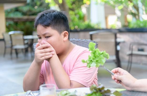 Chłopiec z wyrazem obrzydzenia przeciwko warzywom
