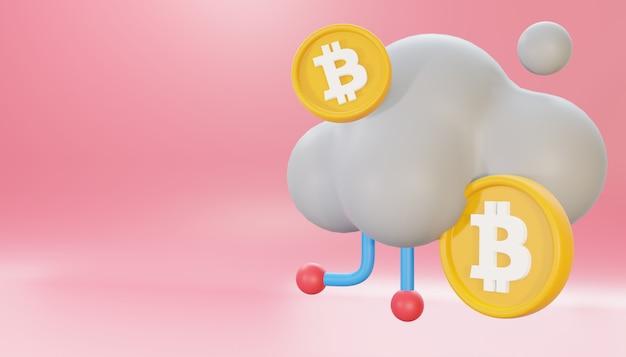 Chmura bitcoinów renderowania 3d