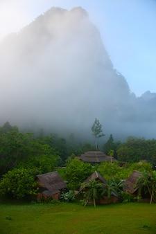 Chmura mgły wsi