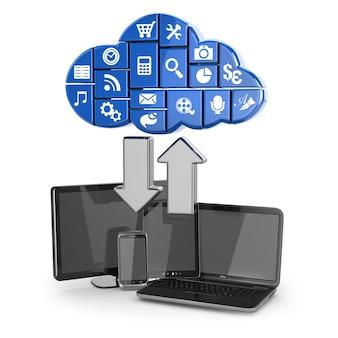 Chmura obliczeniowa. laptop, tablet i telefon. 3d