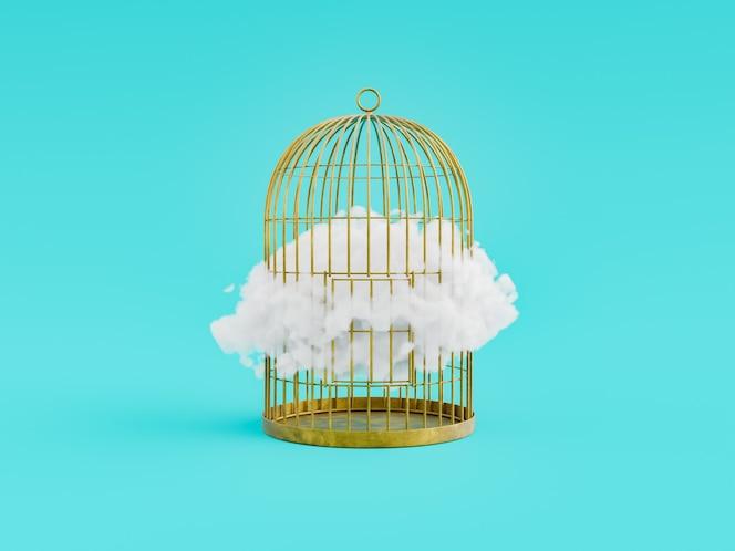 Chmura wewnątrz złotej klatki na miękkim niebieskim tle. renderowanie 3d