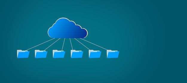 Chmura z ikoną plików na niebieskim tle
