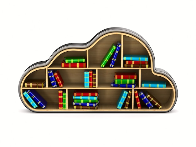 Chmura z książkami na białym tle. izolowana ilustracja 3d