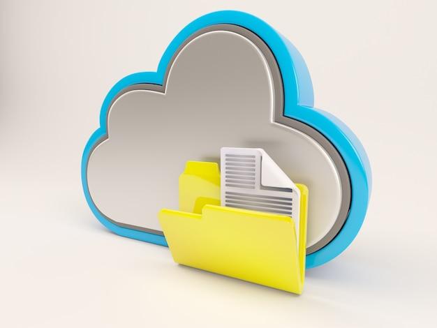 Chmura z żółtym folderu