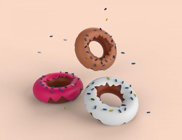 Choco, różowe i białe pączki z lukrem. pączki z polewą latającą nad tłem z kropelkami spada. kolorowa 3d ilustracja