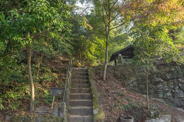 Chodnik w wiosce onsen kurokawa, schody w przyrodzie, kurokawa, kumamoto, kyushu, japonia