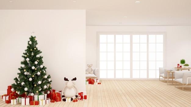 Choinka i prezent w salonie