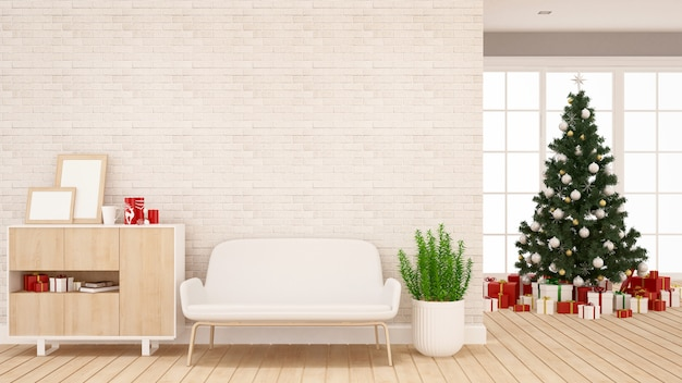 Choinka i pudełko w salonie