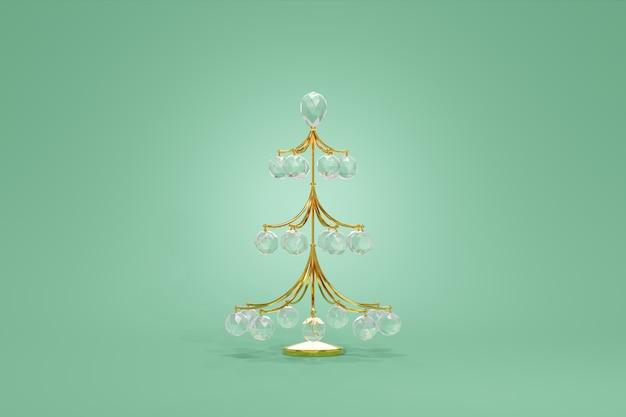 Choinka krucha ozdoba z drutu złota wisząca kula ze szkła kryształowego, renderowania 3d